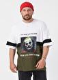 XHAN Beyaz Baskılı Bloklu Oversie T-Shirt  Beyaz